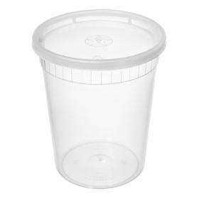 WY 圆形透明塑料汤盒套装 32 oz. - 240套/箱