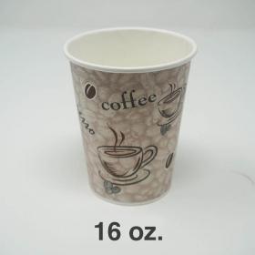 一次性印花咖啡纸杯 16 oz.  - 1000/箱
