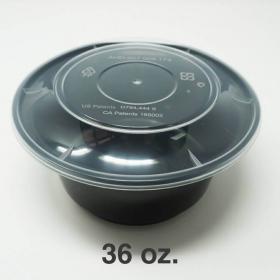 AHD 圆形黑色塑料碗底 36oz. (8340) (非套装) - 200/箱