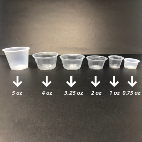 塑料透明调料杯 2 oz. (非套装) - 2000/箱
