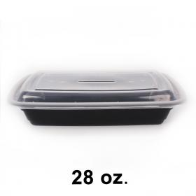 FH 28 oz. 长方形黑色塑料餐盒套装 - 150套/箱