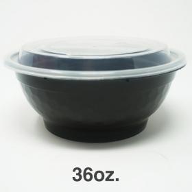 FH 36 oz. 圆形黑色塑料碗套装 - 150套/箱