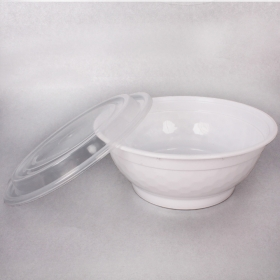 FH 36 oz. Round White Plastic Deli Container With Clear Dome Lid - 150/Case