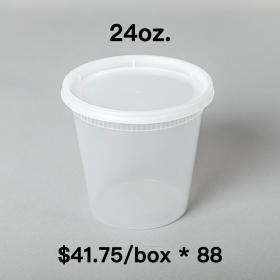 [Bulk 88 Cases] 24 oz. Round Clear Plastic Soup Container Set - 240 Set/Case