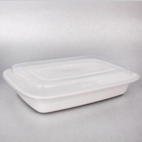 SD 28 oz. 长方形白色塑料餐盒套装 - 150套/箱