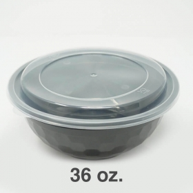 SD 36 oz. 圆形黑色塑料碗套装 (036) - 150套/箱