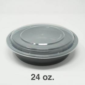 SD 24oz. Round Black Plastic Food Container Set (723) - 150/Case