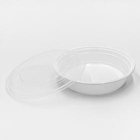 SD 24oz. 圆形白色塑料餐盒套装 (723) - 150套/箱