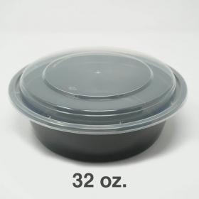 SD 32 oz. 圆形黑色塑料餐盒套装 (729) - 150套/箱