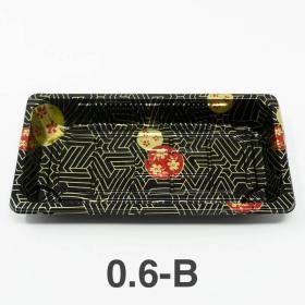 "0.6-B 长方形黑色塑料寿司盘底 (非套装) 6 3/8"" X 3 1/2"" X 3/4"" - 1500个/箱"
