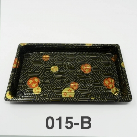 "015-B 长方形黑色塑料寿司盘底 (非套装) 8 1/2"" X 5 1/4"" X 5/8"" - 1000个/箱"