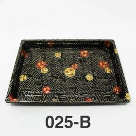 "025-B 长方形黑色塑料寿司盘底 (非套装) 10 1/4"" X 7 3/8"" X 7/8"" - 504个/箱"