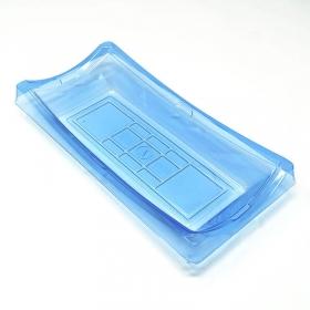 """130 长方形浅蓝色塑料寿司盘套装 9 1/4"""" X 4 1/2"""" X 1 1/2"""" - 360套/箱"""