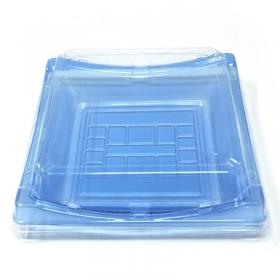 """140 正方形浅蓝色塑料寿司盘套装 7 1/4"""" X 7 1/4"""" X 1 1/2"""" - 280套/箱"""