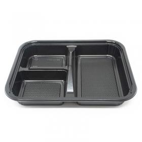 """304 长方形黑色塑料便当盒套装 9 3/8"""" X 7 1/2"""" X 1 3/8"""" - 252套/箱"""
