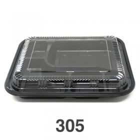 """305 长方形黑色塑料便当盒套装 9 3/8"""" X 7 1/2"""" X 1 3/8"""" - 252套/箱"""