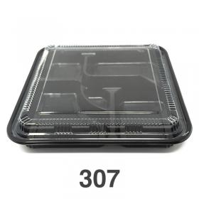 """307 正方形黑色塑料便当盒套装 10 5/8"""" X 10 5/8"""" X 1 1/2"""" - 100套/箱"""