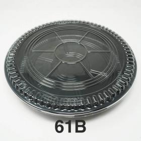 """61B 圆形黑色塑料派对餐盘套装 11 1/4"""" X 1 3/4"""" - 120套/箱"""