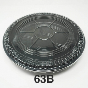 """63B 圆形黑色塑料派对餐盘套装 12 3/4"""" X 1 7/8"""" - 60套/箱"""