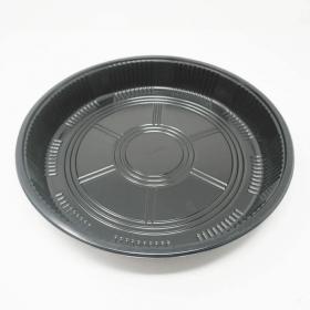 """65B 圆形黑色塑料派对餐盘套装 14 7/8"""" X 1 7/8"""" - 60套/箱"""