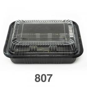 """807 长方形黑色塑料餐盒套装 6 1/2"""" X 4"""" X 1 3/8"""" - 550套/箱"""