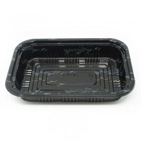 """810 长方形黑色塑料餐盒套装 7 1/4"""" X 5 1/8"""" X 1 3/8"""" - 500套/箱"""