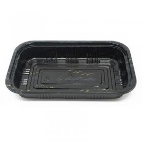 """815 长方形黑色塑料餐盒套装 8"""" X 5 1/8"""" X 1 3/8"""" - 450套/箱"""