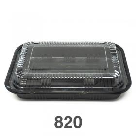 """820 长方形黑色塑料餐盒套装 8 3/8"""" X 5 3/4"""" X 1 3/8"""" - 400套/箱"""