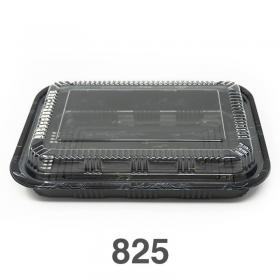 """825 长方形黑色塑料餐盒套装 9 1/8"""" X 6 3/8"""" X 1 3/8"""" - 300套/箱"""