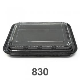 """830 长方形黑色塑料餐盒套装 10 1/2"""" X 7 7/8"""" X 1 3/8"""" - 200套/箱"""
