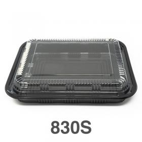 """830S 长方形黑色塑料餐盒套装 9 1/4"""" X 7 1/4"""" X 1 1/4"""" - 200套/箱"""