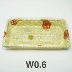 "W0.6 长方形白色塑料寿司盘套装 6 3/8"" X 3 1/2"" X 3/4"" - 480套/箱"