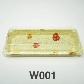 "W001 长方形白色塑料寿司盘套装 8 3/4"" X 3 3/4"" X 7/8"" - 400套/箱"