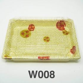 "W008 长方形白色塑料寿司盘套装 6 1/2"" X 4 1/2"" X 1 1/8"" - 440套/箱"