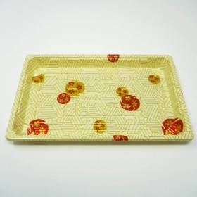 "W015 长方形白色塑料寿司盘套装 8 1/2"" X 5 1/4"" X 5/8"" - 300套/箱"