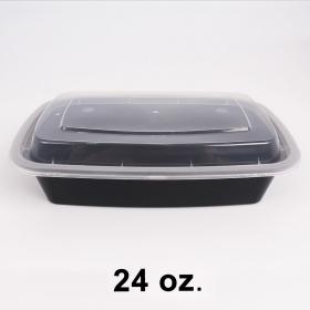 HT 24 oz. 长方形黑色塑料餐盒套装 (7038) - 150套/箱