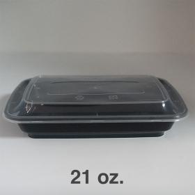 AHD 长方形黑色塑料餐盒套装 21 oz. (006) - 150套/箱