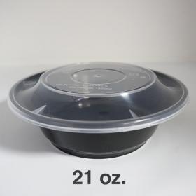AHD 圆形黑色塑料餐盒套装 21 oz. (007) - 150套/箱