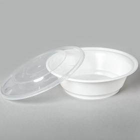 AHD 圆形白色塑料餐盒套装 21 oz. (007) - 150套/箱