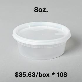 [Bulk 108 Cases] 8 oz. Round Clear Plastic Soup Container Set - 240 Set/Case