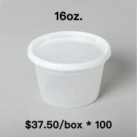 [Bulk 100 Cases] 16 oz. Round Clear Plastic Soup Container Set - 240 Set/Case