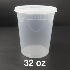 HT 32 oz. 圆形透明塑料汤盒套装 - 240套/箱