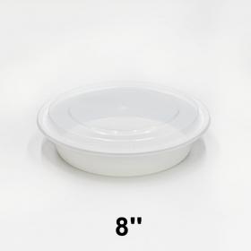 """HT 8"""" 圆形白色塑料餐盒套装 (098) - 150套/箱"""