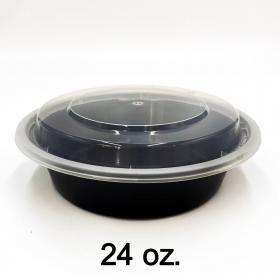 24 oz. 圆形黑色塑料餐盒套装 (723) - 150套/箱