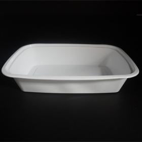 HT 24 oz. 长方形白色塑料餐盒套装 (7038) - 150套/箱