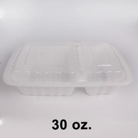 HT 30 oz. 长方形白色塑料两格餐盒套装 (8288) - 150套/箱