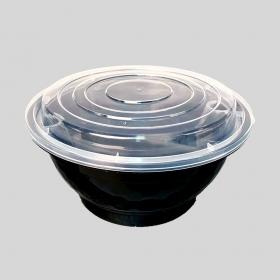 50 oz. Round Black Plastic Food Container Set w/ insert - 90/Case