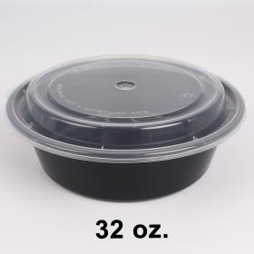 圆形黑色塑料餐盒套装 32 oz. (729) - 150套/箱