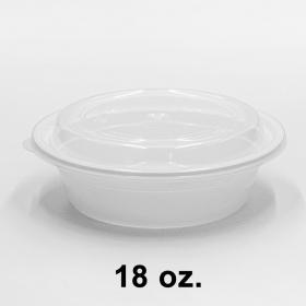 圆形白色塑料餐盒套装 18 oz. (618/018) - 150套/箱