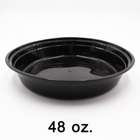圆形黑色塑料餐盒套装 48 oz. (948) - 150套/箱